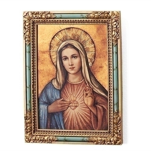 """7.25""""H Immaculate Heart of Mary Icon Plaque/Panel. Panel is made of a medium density fiberboard. Dimensions: 7.25 x 6.5""""W x 2""""D."""