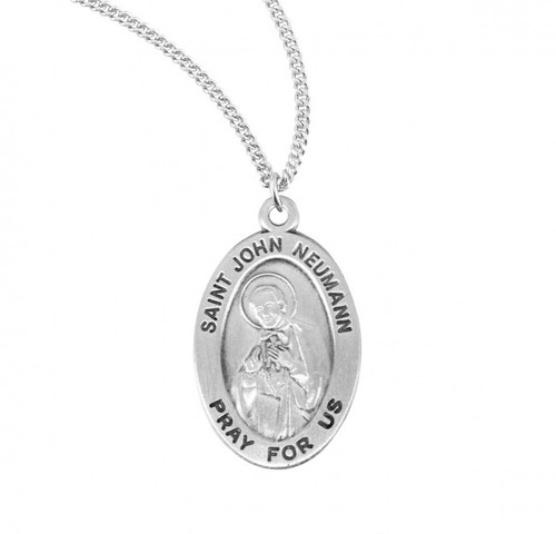"""7/8"""" oval sterling silver  medal with a 20"""" genuine rhodium plated chain.Comes in a deluxe velour gift box. Engraving option available. Made in the USA"""