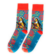 "St. Thérèse of Lisieux or as we like to say, St. Thérèse of LiSHOE! With ""The Little Way"" written on the bottom of the sock, you'll be reminded each day to live as she did with great joy in the little things. Crew Length. Material: Approx. 75% Cotton, 23% Nylon, 2% Spandex. Adult One Size - Fits most Men's size 5-11 and Women's size 7-12)"