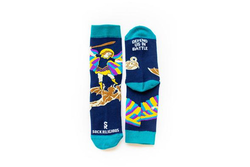 St. Michael the Archangel defend us in battle! These socks will help you as a reminder of St. Michael's protection as you go into the battle of your daily life.