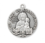 "Sterling Silver Round  Our Lady of Czestochowa Medal. Sterling silver medal comes on an 24"" Genuine rhodium plated curb chain.  A deluxe velour gift box is included. Dimensions: 1.1"" x 1.0"" (29mm x 26mm). Solid .925 sterling silver. Weight of medal: 7.7 Grams. Made in the USA."