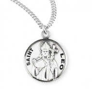 "Sterling silver 7/8"" round St Louis patron saint medal/pendant with a 20"" genuine rhodium plated curb chain. Medal comes in a deluxe velour gift box. Made in the USA. Engraving option available."