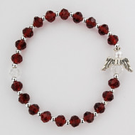"January ~ Garnet  - Youth sized 6 1/2"" Birthstone Angel Bracelets for Children.  6mm glass  beads with pearl, glass and silver angel.   Gift Boxed and Made in the USA!"