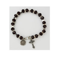 "January ~ Garnet - 7 1/2"" Adult Birthstone Bracelets.  Real crystal 6mm glass beads crystal spacer beads. Real crystal capped Our Father bead. Miraculous medal and crucifix are oxidised silver. Bracelet comes carded.  Made in the USA!"