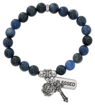 """7 1/2"""" Adult Imitation Blue Lapis Beads Stretch Bracelet.  Miraculous medal and crucifix are oxidised silver. Bracelet comes carded.  Made in the USA!"""