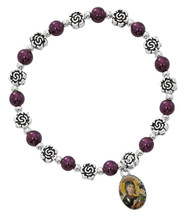 Our Lady of Perpetual Help Stretch Bracelet. 6MM burgundy pearl beads with silver oxidised components.