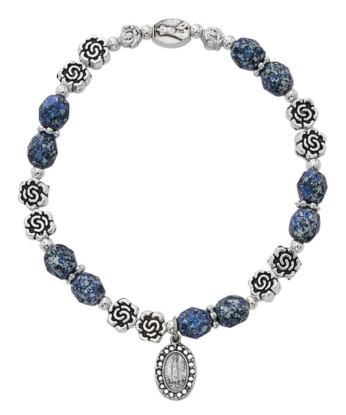 Our Lady of Fatima Stretch Bracelet. 6MM blue marbelized beads with silver oxidised components.