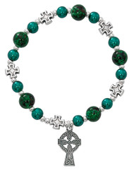 Celtic Cross Stretch Bracelet.  Different size Green marbelized beads with silver oxidised components.