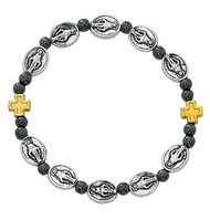 Our Miraculous Medal Stretch Bracelet. Bracelet consists of hematite beads and metal cross beads with silver oxidised components.