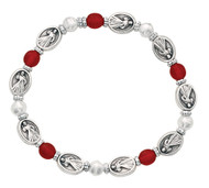 Divine Mercy Stretch Bracelet. Bracelet consists of red and pearl beads with silver oxidised components.
