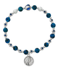 Our Lady of Lourdes Blue Hearts Stretch Bracelet. Bracelet consists of 6mm blue beads, and blue enamel hearts with silver oxidised components.