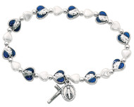 Adult Bracelet alternates blue enamel heart beads and white heart pearl glass beads.  Silver oxidised miraculous medal and crucifix.