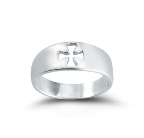 "Sterling Silver Pierced Cross ""Faith "" Ring. Sizes 5-12. Ring comes in a deluxe velour gift box. Made in the USA. Limited Lifetime Guarantee from defects in material and workmanship"