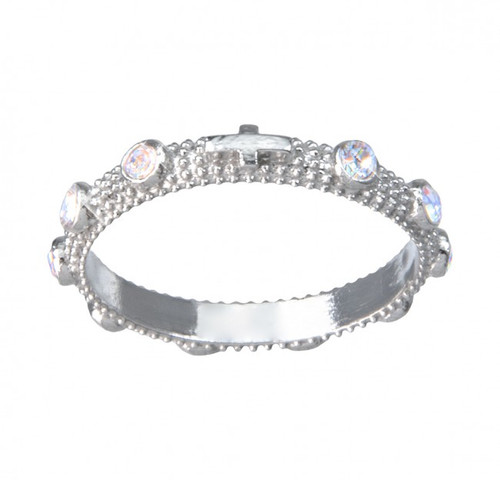 Sterling Silver Rosary Ring with set Cubic Zirconia's . Sizes 6-9. Ring comes in a deluxe velour gift box. Made in the USA. Limited Lifetime Guarantee from defects in material and workmanship