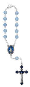 Miraculous Medal Carded Auto Rosary with silver ox crucifix and center.