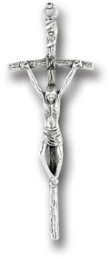 """2"""" Small silver oxidised metal Papal Crucifix"""