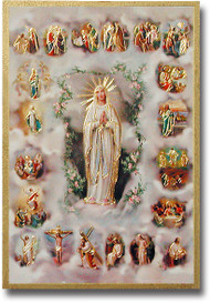 "4""x6"" Mysteries of the Rosary Gold Foil Mosaic Plaque With Full Color Prayer on Back From Italy"