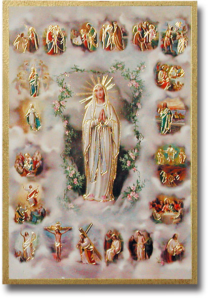 """4""""x6"""" Mysteries of the Rosary Gold Foil Mosaic Plaque With Full Color Prayer on Back From Italy"""