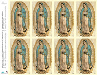 "Our Lady of Guadalupe Prayer Cards from the Bonella Line. Bonella artwork is known throughout the world for its beautiful renditions of the Christ, Blessed Mother and the Saints. Holy Cards are 8 1/2"" x 11"" sheets with a tab that separates into 8- 2 1/2"" x 4 1/4"" cards.  No charge for personalization!  Can be laminated at an additional cost.  ( Price per sheet of 8) Imported from Italy"