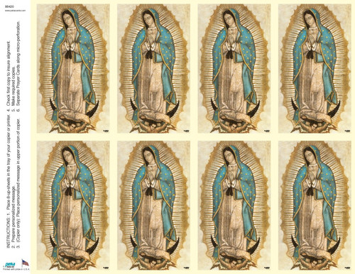 """Our Lady of Guadalupe Prayer Cards from the Bonella Line. Bonella artwork is known throughout the world for its beautiful renditions of the Christ, Blessed Mother and the Saints. Holy Cards are 8 1/2"""" x 11"""" sheets with a tab that separates into 8- 2 1/2"""" x 4 1/4"""" cards.  No charge for personalization!  Can be laminated at an additional cost.  ( Price per sheet of 8) Imported from Italy"""