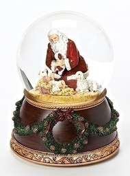 "6"" Musical Kneeling Santa dome that plays ""Silent Night"". Base has wreath and greens surrounding it. Inside the globe is the Kneeling Santa with two sheep and baby baby Jesus. Dimensions: 6""H"