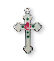 """Sterling Silver with White Enamel - 3/4"""" Enameled Cross with a 18"""" Chain. Cross is sterling silver with a genuine rhodium-plated, 18"""" stainless steel chain. Available in white, pink or blue enamel. Enameled cross presents in a deluxe velour gift box"""