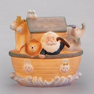 6'H Noah's Ark Night Light. Corded night light has Noah and his animals two by two lighting the way through the night! Night light is made of a resin stone mix.