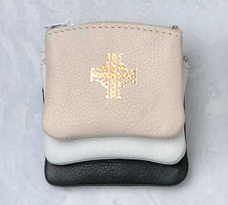 """Rich, soft leather rosary case with gold, hot stamping. Rosary case is lined and has a zipper closure. rosary case measures 3″x 2½"""". Black, White or Beige"""