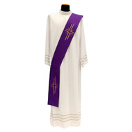 "Deacon Stole sewn in soft lightweight Primavera fabric (100% polyester) with gold embroidery. Deacon Stole Measures in Length: 55"", Width: 5"".  Available in white, red, green, purple and rose. Made in Italy"