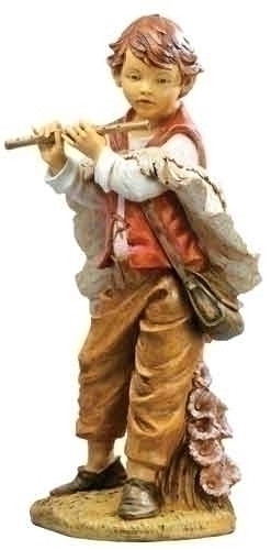 """Michael, Village Boy with Flute. Materials: Marble Based Resin. Measurements: 50""""H"""