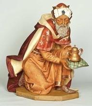 "50""H Kneeling King Gaspar. Marble Based Resin"