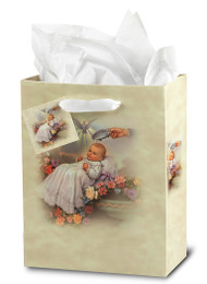 "Inspirational Gift Bag for Baptism. Dimensions:  Small Gift Bag:3 3/4"" x 5"" x 2"" or Medium Gift Bag:  7 3/4"" x 9 3/4"" x 4"". Baptism  Gift Bags are designed in Italy by the Studios of Fratelli Bonella."