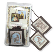 "1 3/4""X2"" 100% Wool Brown Scapular In Clamshell."