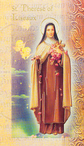 "Saint Therese of Liseaux Folder. Folder is a 2 Page Biography that inludes her name meaning, St. Therese attributes, a prayer to st Threses and her feast day.  Biography Folder is gold stamped Italian art. Folder measures 5.375"" X 3.25""."