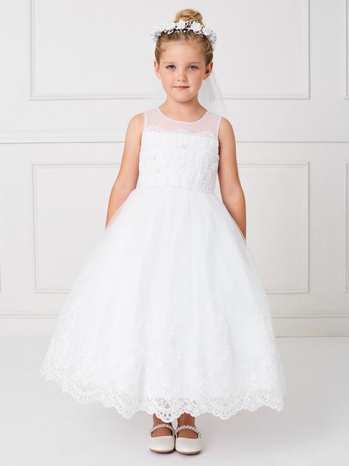 Sleeveless Communion Dress with illusion neckline with lace hem