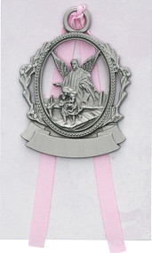 """Engravable Pewter Guardian Angel Crib Medal with White Ribbon Dimensions: 2 1/2"""" X 2"""""""