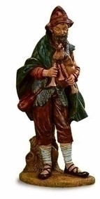 "Fontanini 50"" Scale Nativity figure ~ Josiah the Bagpiper. Marble Based Resin. 50"" Height"