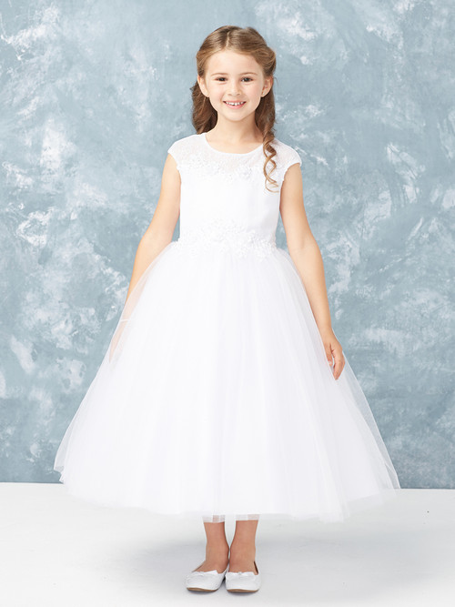 This sweet communion dress is ankle length and has an illusion neckline with lace.