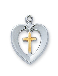 """Youth size two tone sterling silver and gold plate cross inside a heart pendant. Two tone medal comes on an 18"""" stainless steel chain. Also available in pewter, rose gold, gold over sterling silver or sterling silver."""