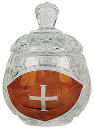 "Ablution Cup or for the distribution of ashes. Crystal with engraved cross. 3-3/8""H., 3 oz. cap."