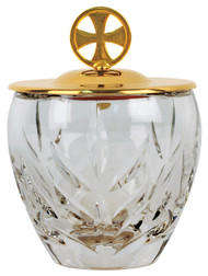 "Ablution Cup. Or for the distribution of ashes. 24k gold plated cross and cover with crystal bowl. 4-3/8""H., 6 oz. cap."