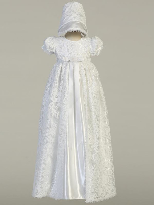 Suzana, Lace long gown with shiny satin christening dress. Made In USA