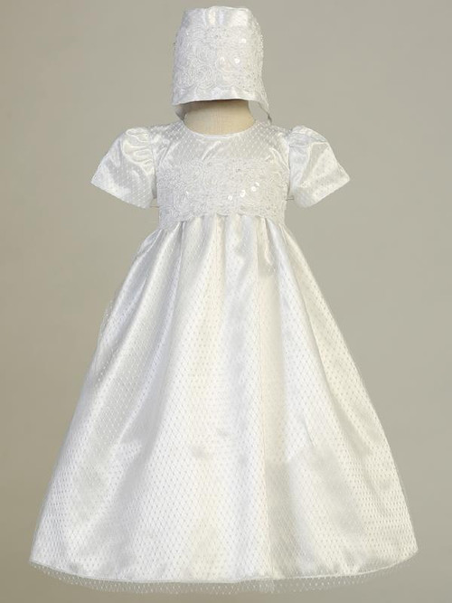 Ruby ~ Diamond mesh gown with embroidered lace trim.  Bonnet inlcuded. Made In USA