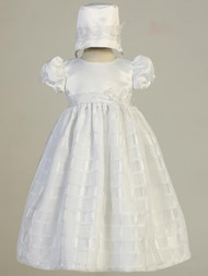 Giselle ~ Satin bodice and organza plaid gown.  Bonnet inlcuded. Made In USA