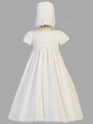 Diana ~ Cotton Smocked Gown with Bonnet.  Bonnet inlcuded. Made In USA