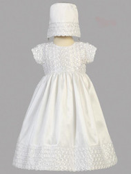 Hailey,  Ribbon Embroidered Taffeta Christening Gown with Bonnet
