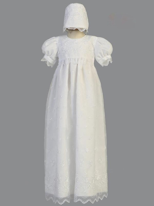 Embroidered Organza Long Christening Gown, 2270