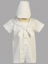 Polyester and cotton sailor outfit christening set. Hat is included. Sizes: 0-3mos, 3-6mos, 6-12mos, 12- 18mos. Made in the USA