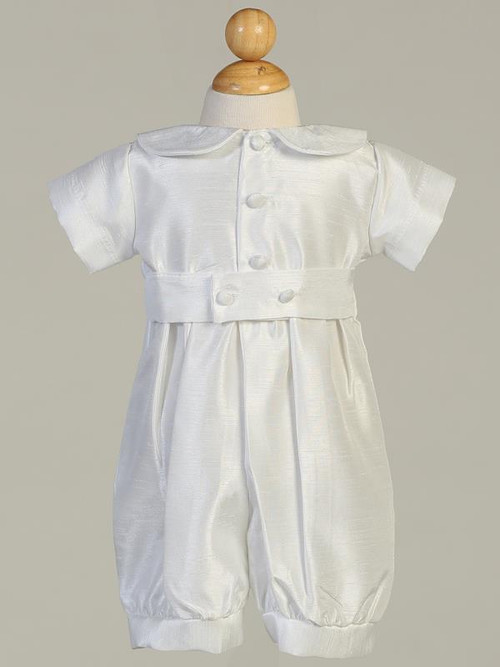 Shantung Romper Christening Set. Hat included.  Sizes: 0-3, 3-6m, 6-12m, 12-18m. Made in the USA