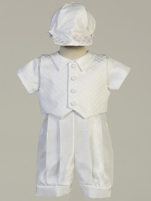 Diamond jacquard vest and shantung romper christening cet. Hat included.  Sizes: 0-3, 3-6m, 6-12m, 12-18m. Made in the USA
